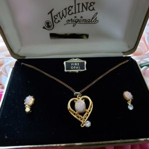 18KT gf Fire Opal Necklace And Earrings